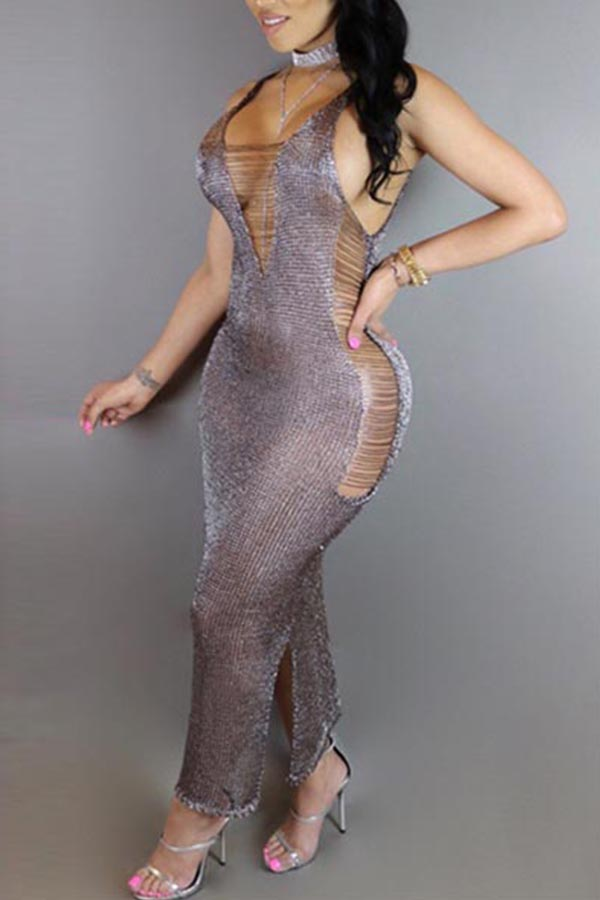 Lovely Sexy V Neck Sleeveless Hollow-out Silver Knitting Ankle Length Dress