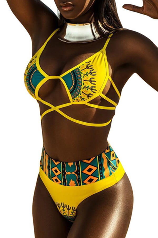 Lovely African Printed Yellow Two-piece Swimwear