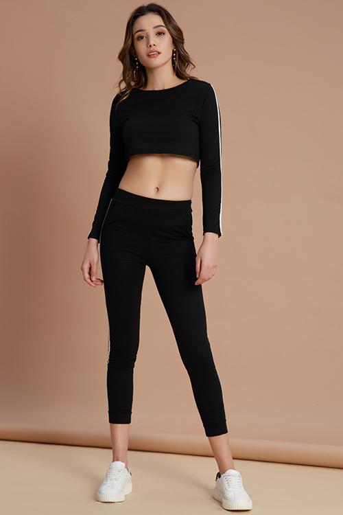 Lovely Sportswear Striped Black Cotton Two-piece Pants Set