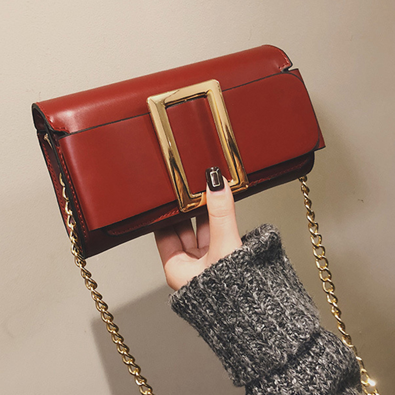 Lovely Trendy Square Buckle Red PU Shoulder Bags