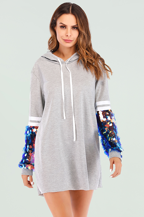 Lovely Casual Patchwork Grey Mini Dress