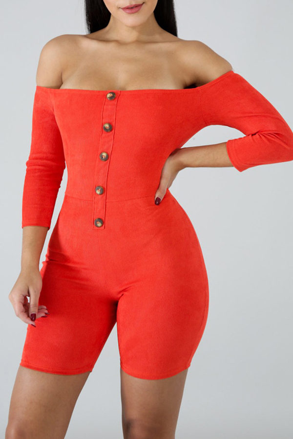 Lovely Trendy Dew Shoulder Jacinth Cotton One-piece Rompers