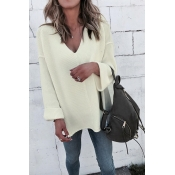 Lovely Casual Loose White Sweaters