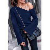 Lovely Chic Dew Shoulder Dark Blue Cotton Sweaters