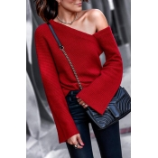 Lovely Chic Dew Shoulder Red Cotton Sweaters