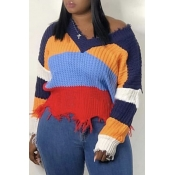Lovely Casual Color-lump Patchwork Multicolor Knit