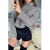 Lovely Casual Turtleneck Grey Knitting Sweaters