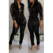 Lovely Trendy  Zipper Design Black Blending One-piece Jumpsuit