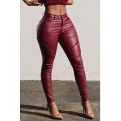 Pantalones De PU De Color Rojo Delgado Ocasionales Encantadores