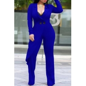 Lovely Trendy Asymmetrical Blue Knitting One-piece  Jumpsuit