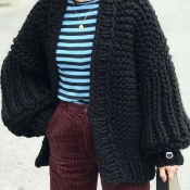 Lovely Casual Puff Sleeves Black Cotton Coat