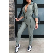 Lovely Casual Zippers Design Skinny Grey Twilled Satin One-piece Jumpsuit