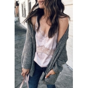 Lovely Fashion Long Sleeves Pocket Grey Cardigans