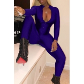 Lovely Trendy V Neck Zipper Design Royalblue Polyester One-piece Jumpsuits