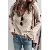 Lovely Daily Long Sleeves Apricot Sweaters