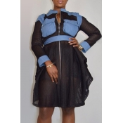 Lovely Casual Patchwork Black Blouses