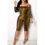 Lovely Trendy Dew Shoulder Gold Knitting One-piece