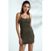 Lovely Trendy Lace-up Army Green Faux Leather Mini