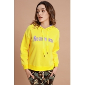 Lovely Trendy Hooded Collar Yellow Blending Hoodie