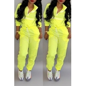 Lovely Trendy Patchwork Yellow Two-piece Pants Set