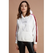 Lovely Casual Patchwork Rose Red Hoodies