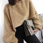 Lovely Casual Loose Apricot Cotton Sweaters