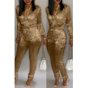 Lovely Sweet Zipper Design Gold One-piece Jumpsuit
