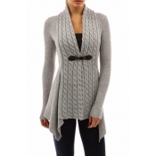 Lovely Trendy Patchwork Grey Cardigan Sweaters