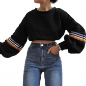 Lovely Casual Puffed Sleeves Black Hoodies