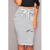 Lovely Trendy Striped White Cotton Blends Knee Len