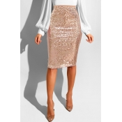 Lovely Trendy Skinny Apricot Sequined Knee Length