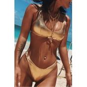 Lovely Sexy Skinny Gold Two-piece Swimwear