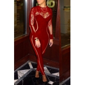 Lovely Sexy Patchwork Skinny Wine Red Gauze One-piece Jumpsuit