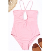 Lovely Casual Hollowed-out Pink One-piece Swimwear