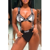 Lovely Chic Patchwork Black Two-piece Swimwear