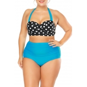Lovely Casual Dots Printed Baby Blue Two-piece Swi