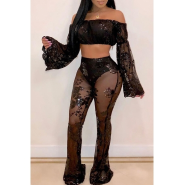 Lovely Sexy Sequined Decorative Black Blending Two-piece Pants Set