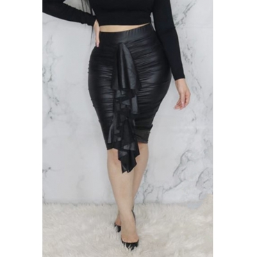 Lovely Casual Patchwork Black PU Knee Length Skirts