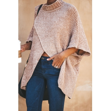 Lovely  Casual Asymmetrical  Loose Khaki Cotton Blends Sweaters