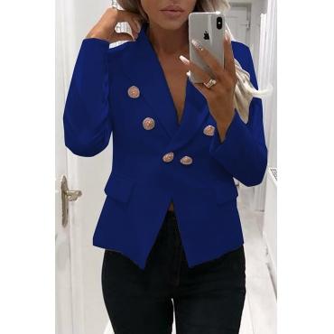 Lovely Work Buttons Decorative Blue Cotton Blends Blazer