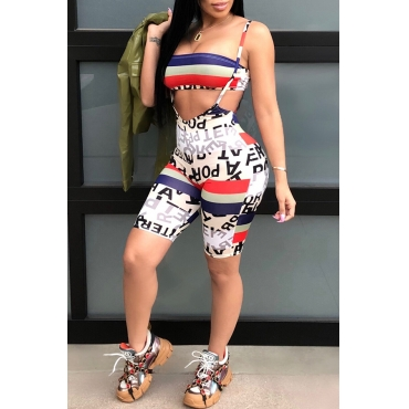 Lovely Casual  Printed White Two-piece Shorts Set