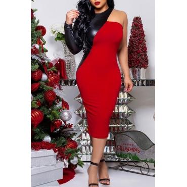 Lovely Trendy Patchwork Red Blending  Mid Calf  Dress