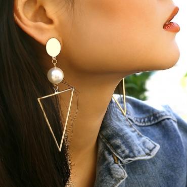 Lovely Trendy Geometric Gold Metal  Earring