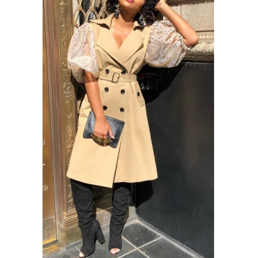 Lovely Trendy Patchwork Khaki Trench Coats
