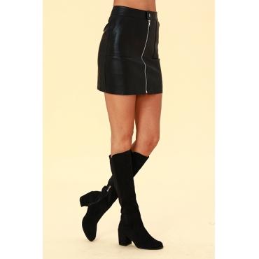 Lovely  Trendy  Zipper Design Black PU Skirts
