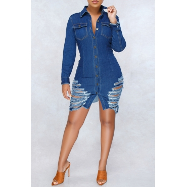 Lovely Casual Broken Holes Blue Denim Mini Dress