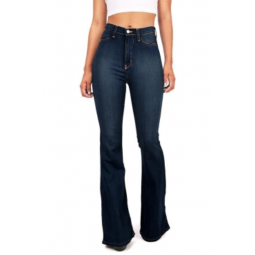 Lovely Casual Flared Deep Blue Cotton Jeans