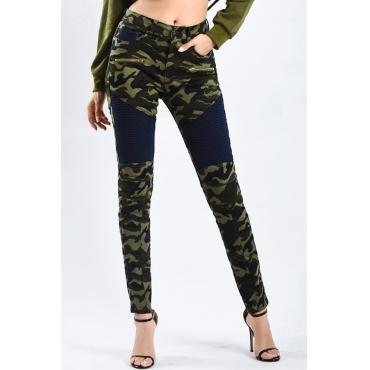 Lovely Trendy Patchwork Camouflage Printed Denim Pants