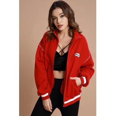 Lovely Trendy  Long Sleeves Red Jacket