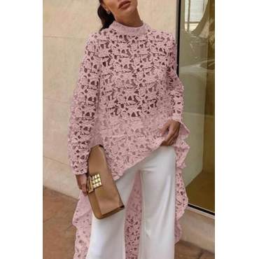Lovely Trendy Hollowed-out Pink Lace Shirts